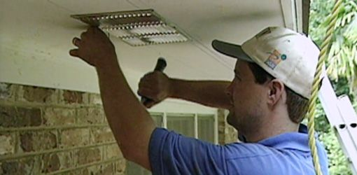 Adding attic soffit vents under roof eaves.  //  The general rule of thumb on the amount of total attic vent space needed is to have at least one square foot of vent space for every 150 square feet of attic area. Ideally, half the vents should be located in the soffit at the bottom of the roof and half in gable or ridge vents near the top to allow for natural circulation of air through the attic.
