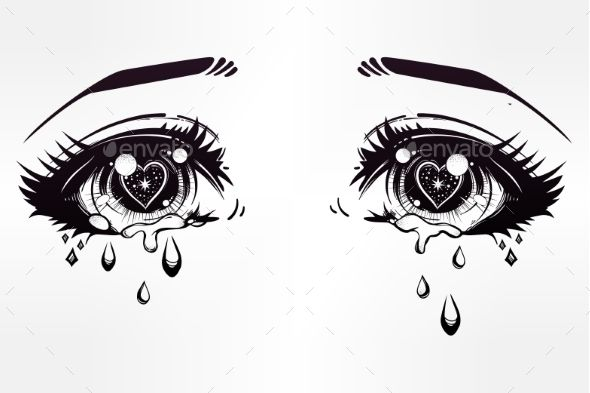 Crying Beautiful Eyes In Anime Or Manga Style With Teardrops And
