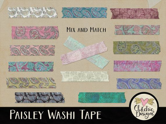 Paisley Washi Tape Clip art Embellishments  by ClikchicDesign