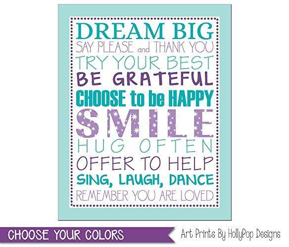 Tween Girl Bedroom Art Purple Aqua Bedroom Decor Girl Typography Print Positive Quotes