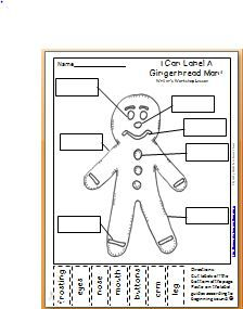Maggie's Kinder Corner: Labeling FREEBIE! Gingerbread man