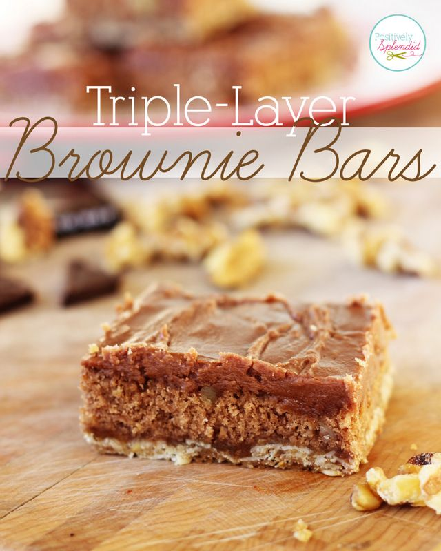 These triple-layer brownie bars look downright decadent! A layer of oats, a brownie layer and a layer of rich chocolate frosting in every bite. Yum!: Bar W Chocolates, Rich Chocolates, Triple Laying Brownies, Cookies Recipes, Bar Cookie Recipes, Brownies Bar, Brownies Layered, Recipes Sweets Bars Squares, Chocolates Frostings