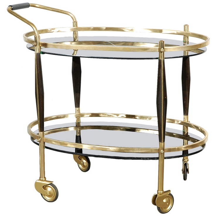 Bar Cart in Brass and Glass  1st dibs
