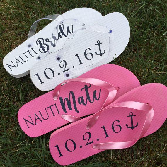 Bridesmaid Gift Nautical Flip Flops Nautical by WhiteRabbitsDesign
