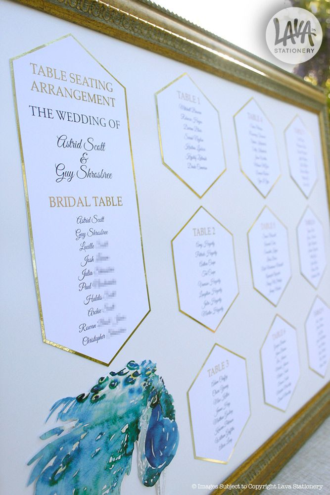 Hexagonal gold foil table seating chart