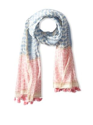 59% OFF Micky London Women's Multi Print Tasseled Saree Scarf, Blue/Pink