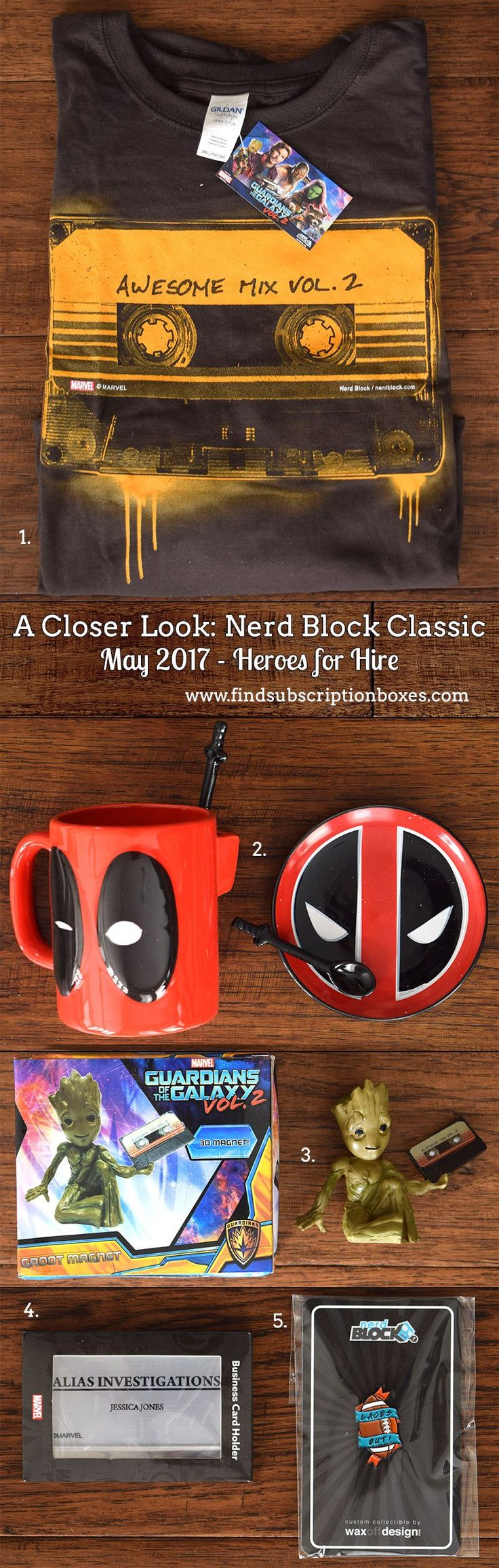 May's Nerd Block Classic Heroes for Hire Block unboxed! Guardians of the Galaxy Vol. 2 tee, Baby Groot 3D magnet, Deadpool coffee set and more nerd collectibles. Read our review and grab our exclusive 15% off promo code…