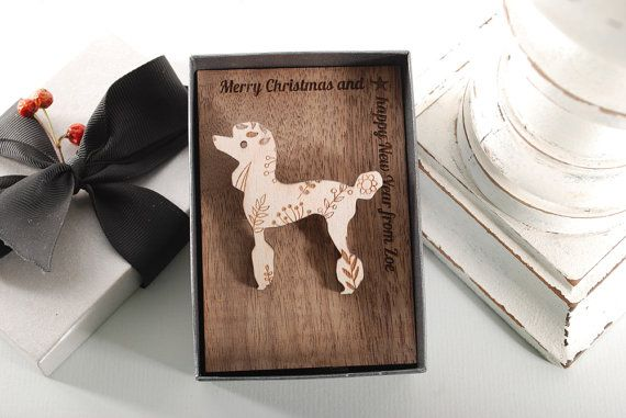 POODLE BROOCH  ready to give gift box solid Beech by MoodForWood