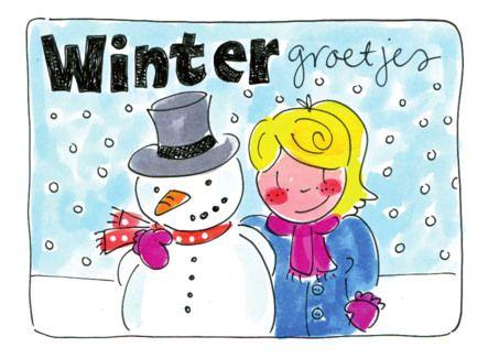 Een meisje en een sneeuwpop geven wintergroetjes- Greetz