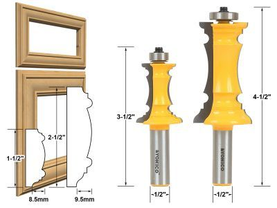 """Définit Door & Window :: :: Porte Cabinet Cabinet porte en onglet :: Portes & Molding tiroir 2 Bit Router Bit Set 1/2 """"Shank - Yonico 16266"""