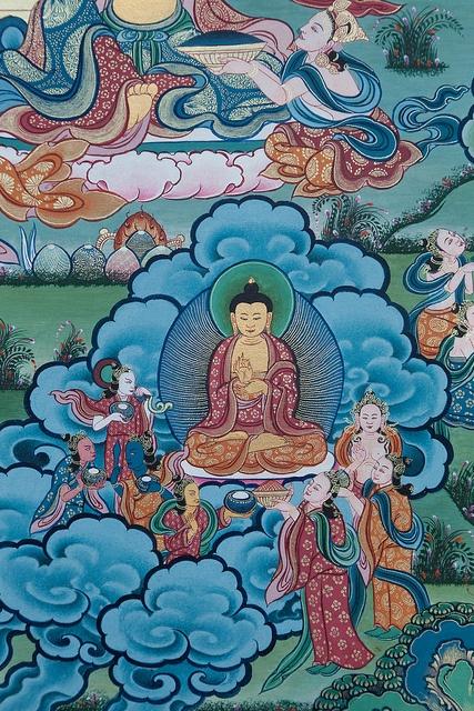 Thangka painting detail, Tongren
