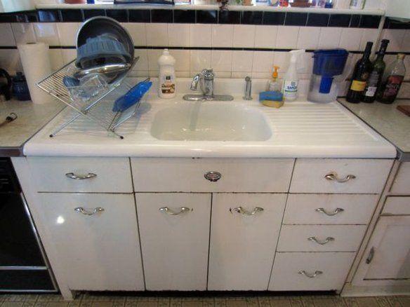 Vintage Double Drainboard Steel And Enamel Sink