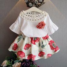 Ropa para niñas establece nuevos 2016 verano niñas ropa niños tops + fashion flower casual faldas trajes niños ropa
