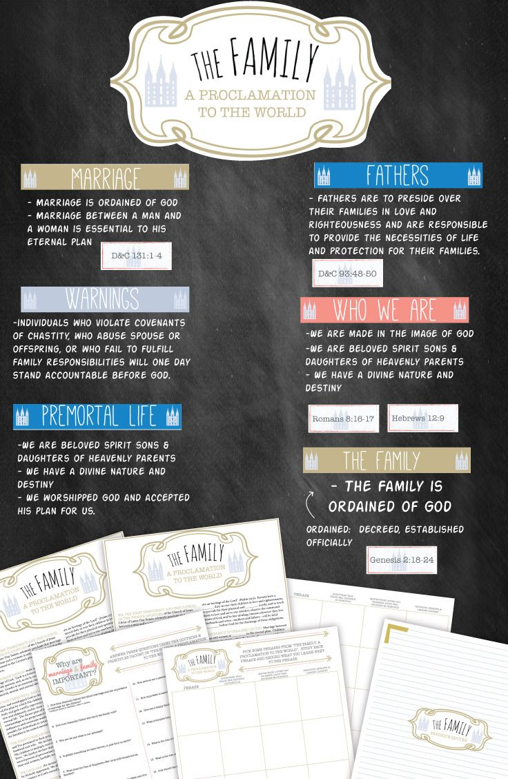 Study and teaching package for the Proclamation to the Family. LOTS of effective printables!!