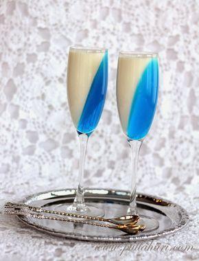 Itsenäisyyspäiän sinivalkoinen jälkiruoka. Maitovanukas kauniistitarjoiltuna. Finland independence day december 6th.