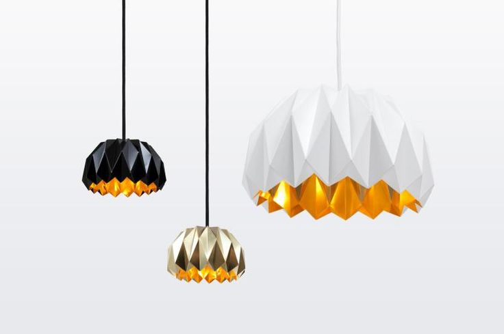lampe origami en noir corbeau, argent et blanc neige pour une déco originale