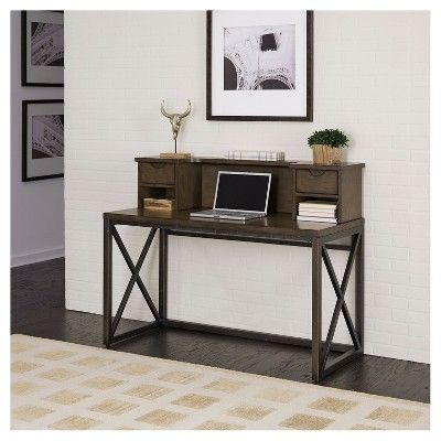 Xcel Office Desk with Hutch - Cinnamon - Home Styles, Brown