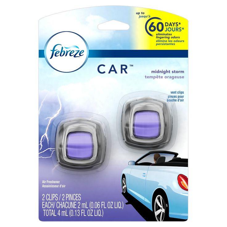 Febreze Car Midnight Storm Scent Air Freshener Vent Clips 2 count, Blue