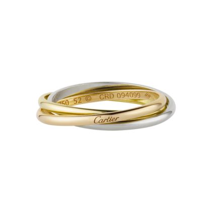 1924, The visionary mind of Louis Cartier created the Trinity ring. Three bands intertwined in harmony, three colors of gold: pink for love, yellow for fidelity and white for friendship.
