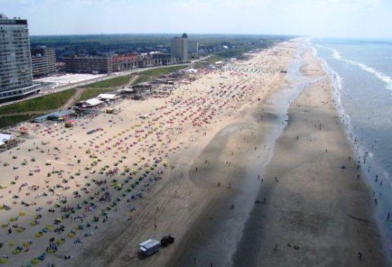 Aerial view of the beach Zandvoort aan Zee in Holland