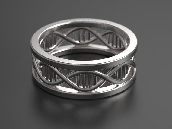 DNA ring, geek wedding ring, geek wedding band, science ring, biology ring, helix ring, silver wedding ring , non traditional