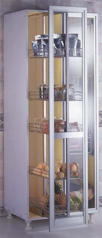 Pull-Out Pantry Rack  With its multiple storage racks and sleek design, this pull-out pantry offers up plenty of space for cereal, soup and more. The pantry's mechanized pull-out system also helps the unit close smoothly and safely. The rack automatically slides shut for the last 2 inches, protecting fingers from pinching and ensuring no banging doors.