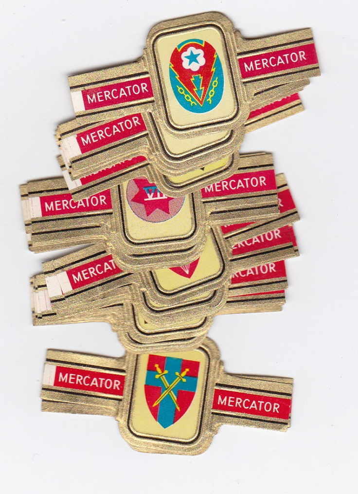 24 cigar bands compl Mercator D-day landing divisions Normandy 1944