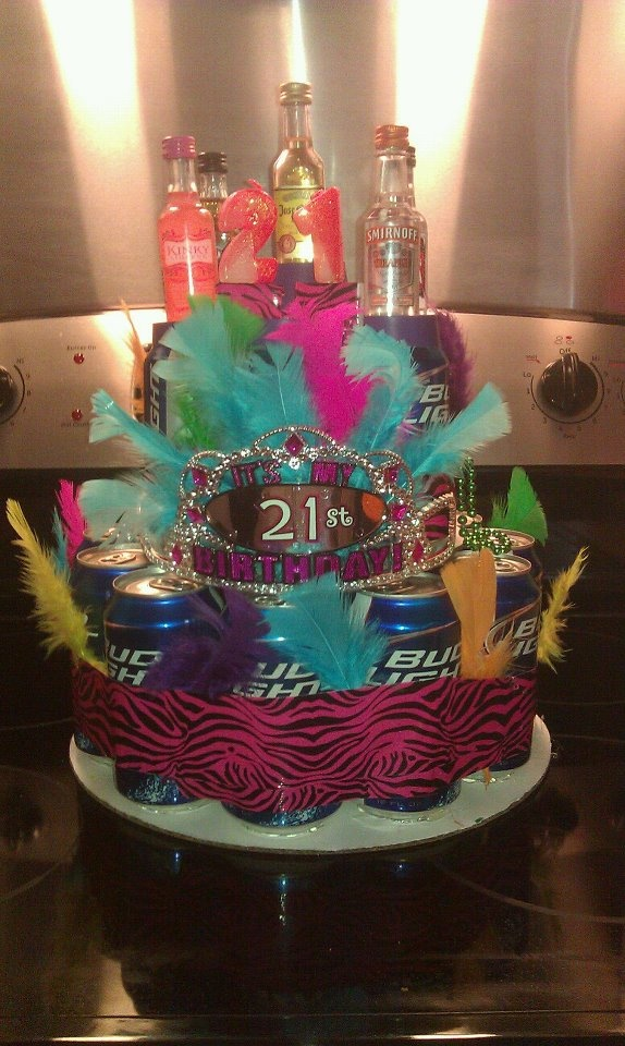 We made this for our best friends 21st!! The beer can cake! @Amanda Snelson