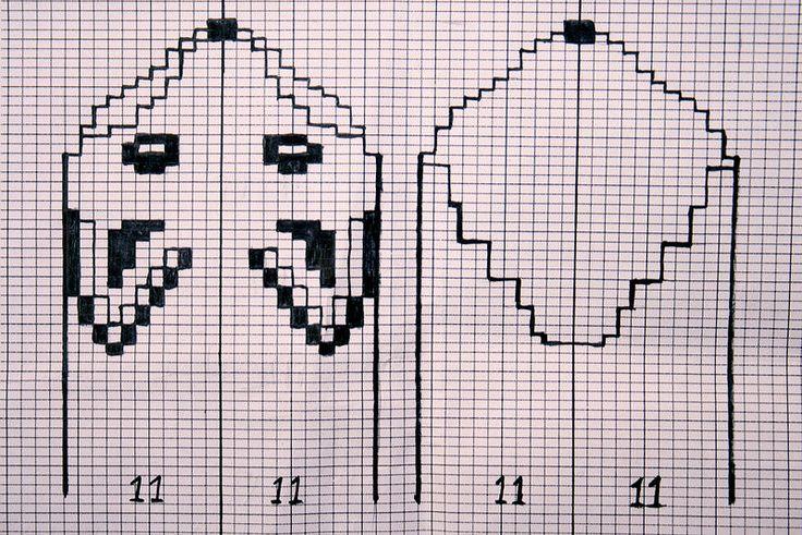 Kaavio kettulapasiin tai sukkiin/ Knitting chart for fox mittens or socks.❤️