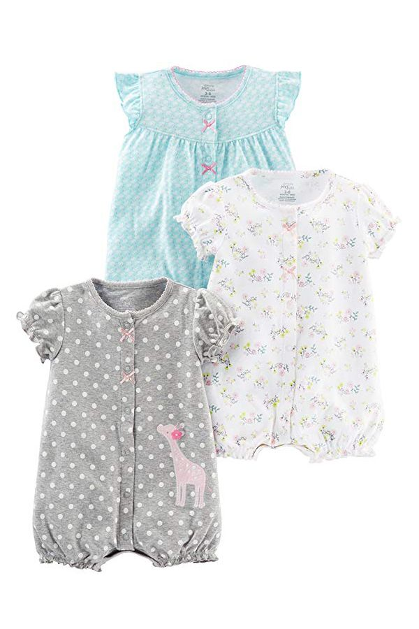 ed9e96f87 Simple Joys by Carter s Girls  3-Pack Snap up Rompers