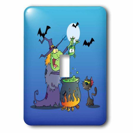 3dRose Funny Crazy Witch Preparing a Potion With a Frog In a Cauldron Silly Halloween Holiday Cartoon, Single Toggle Switch