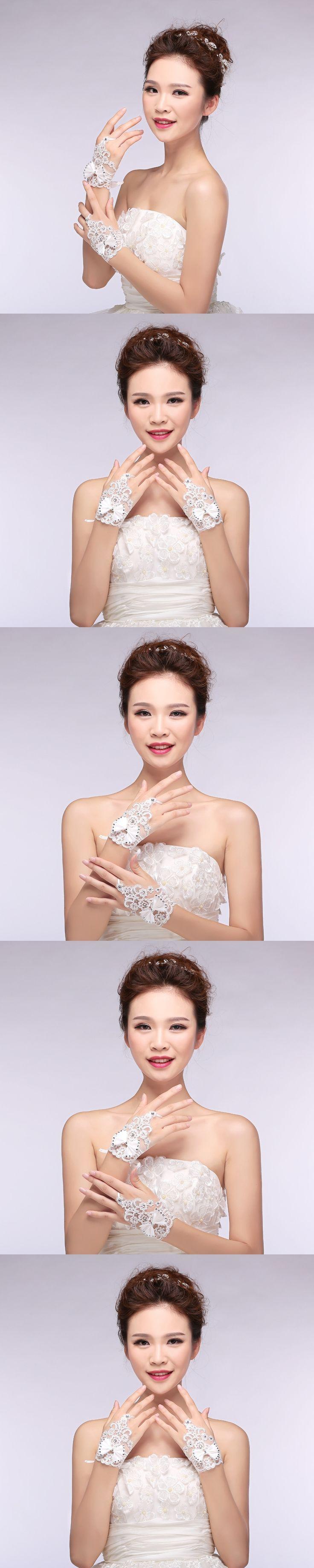 Fredd Shipping new Korean bride wedding gloves bridal lace chiffon short paragraph Spring Wedding Gloves white accessories H02N