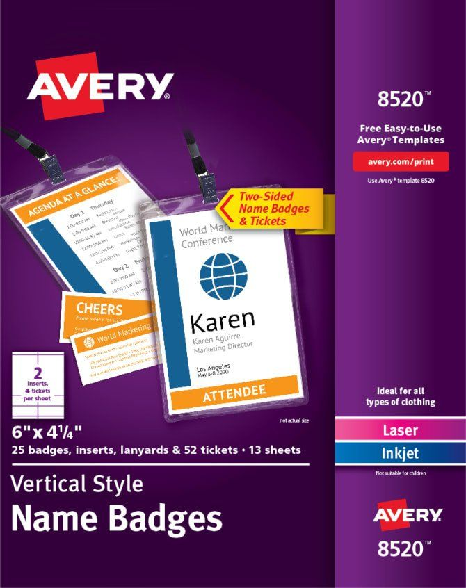 Avery Labels Name Badge Template Avery Vertical Name Badge Event Tickets Durable Plastic Holders Lanyards 6 X 4 Name Badge Template Name Badges Badge Template