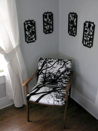 Amy from day-lab diy took a $3 garage sale chair and reupholstered it with Marimekko Tuuli fabric. I wish I came across $3 finds like this at garage sales. [via] Link.