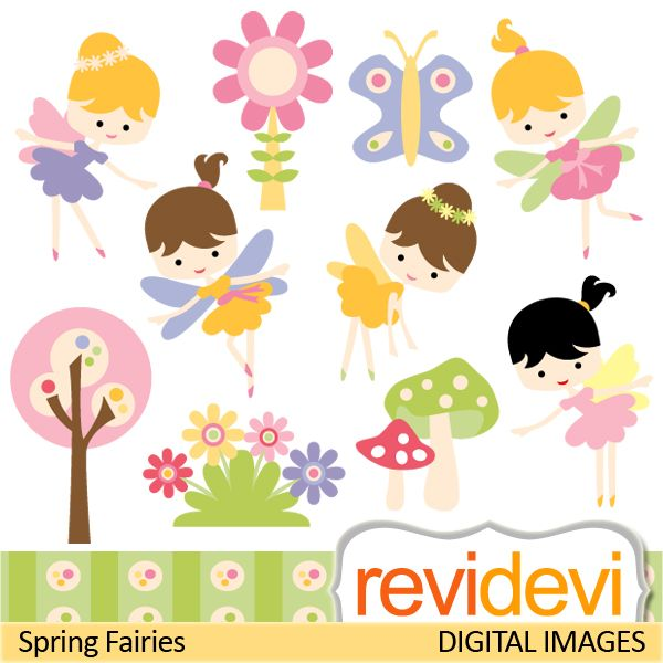 Cute spring fairies cliparts. Come in lovely soft colors, pink, yellow, lime green, and purple. These digital images are great for any craft and creative projects.