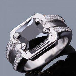 Cincin Pria Black Sapphire (Sintesis) Ukuran Cincin Ring 8