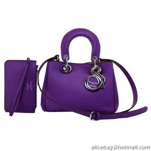 Famous Brand Dior mini Diorissimo Bag in Nappa Leather D0907 Violet WB306285