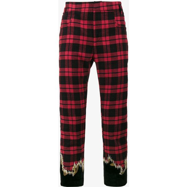 Haider Ackermann Embroidered Cotton Checked Trousers ($535) ❤ liked on Polyvore featuring men's fashion, men's clothing, men's pants, men's casual pants, red, mens embroidered pants, mens red pants, men's casual cotton pants, mens cotton pants and mens checkered pants