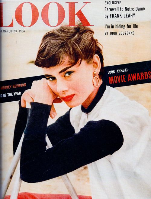 Audrey Hepburn Actress of the year Audrey Hepburn on the cover of Look Magazine. March 23, 1954.