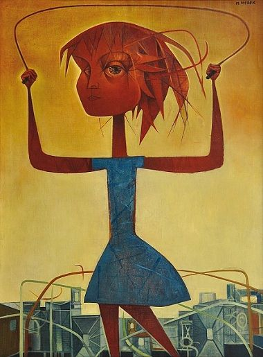 Mikuláš Medek - A girl with the skipping rope (end of 1950's) #painting #art #Czechia