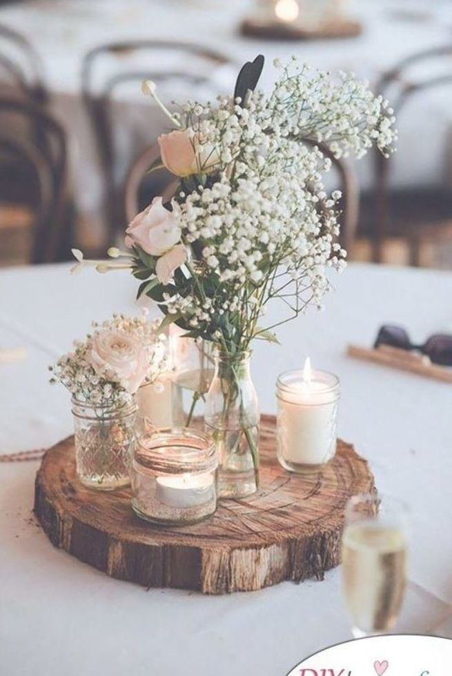 Slice Of Wood Earthy Diy Wedding Centerpieces Diy Wedding Decorations Wedding Table Decorations Wedding Decorations