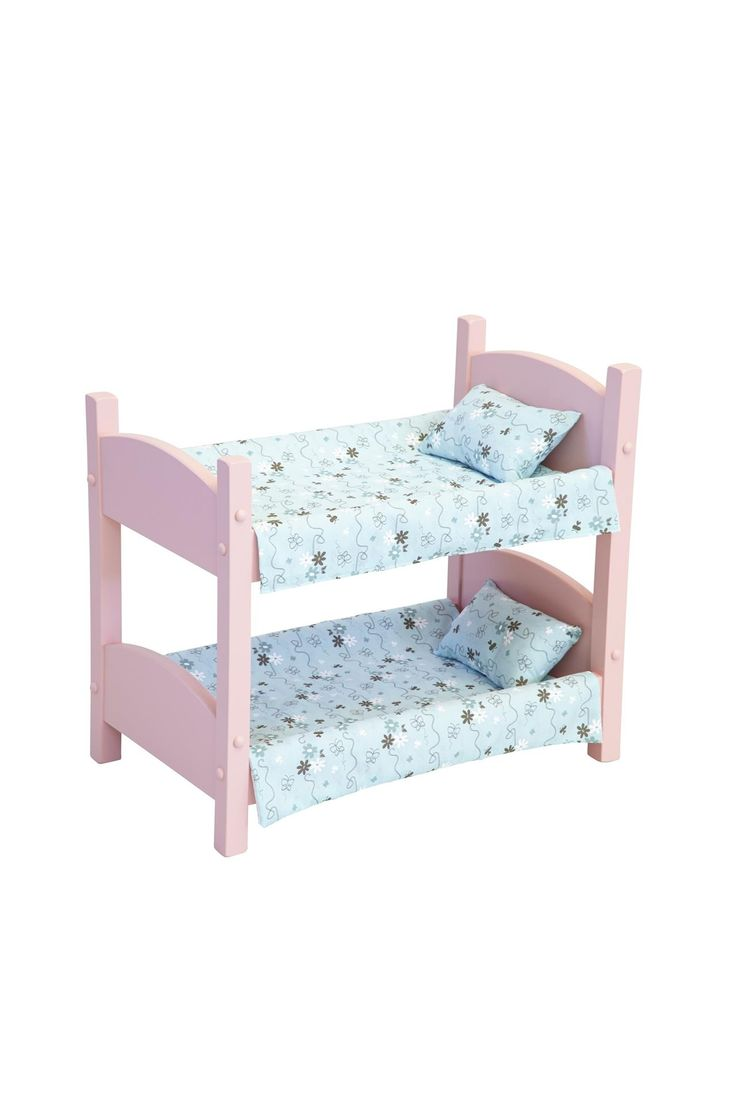 American Made Wooden Doll Bunk Bed Choose pink or white for the paint as well as fabric you like best.