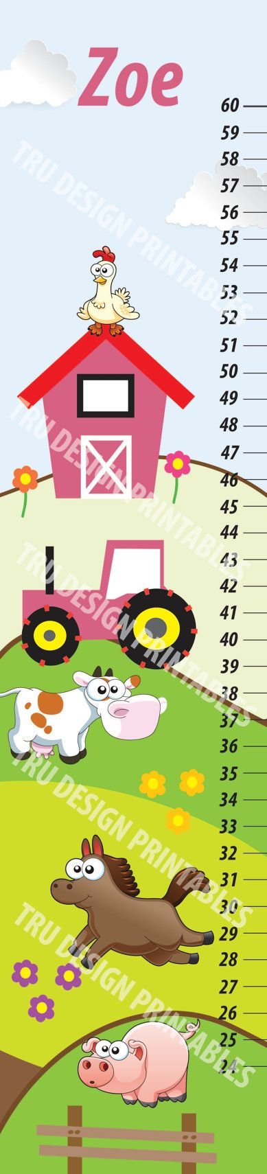Farm Theme Kids Growth Chart by TruDesignPrintables on Etsy, $35.00