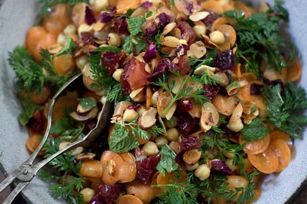 Moroccan Carrot & Chickpea Salad Recipe - Uses Carrots w/Greens, Fresh Mint, Cumin, Cayenne, Sea Salt, Lemon Juice, Driet Pluots or Plums or Dates, Honey, Chickpeas, Almonds;