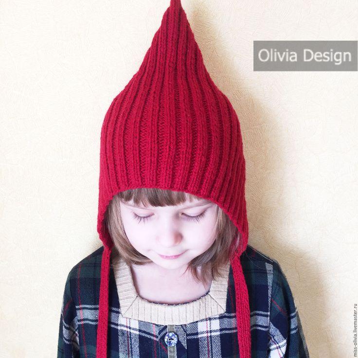 Купить Шапочка Эльф - однотонный, шапка, вязанная шапка, шапка эльф, эльфийская шапка