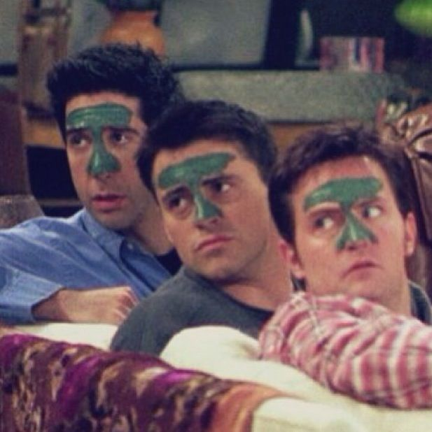Their faces are brilliant! Chandler looks like he's sayin 'Awh crap guys we're caught' Joey looks like this is a normal thing he does everyday and is sayin 'Don't you even think about judgin me' nd Ross looks like he's 'Wait I swear I can explain!'
