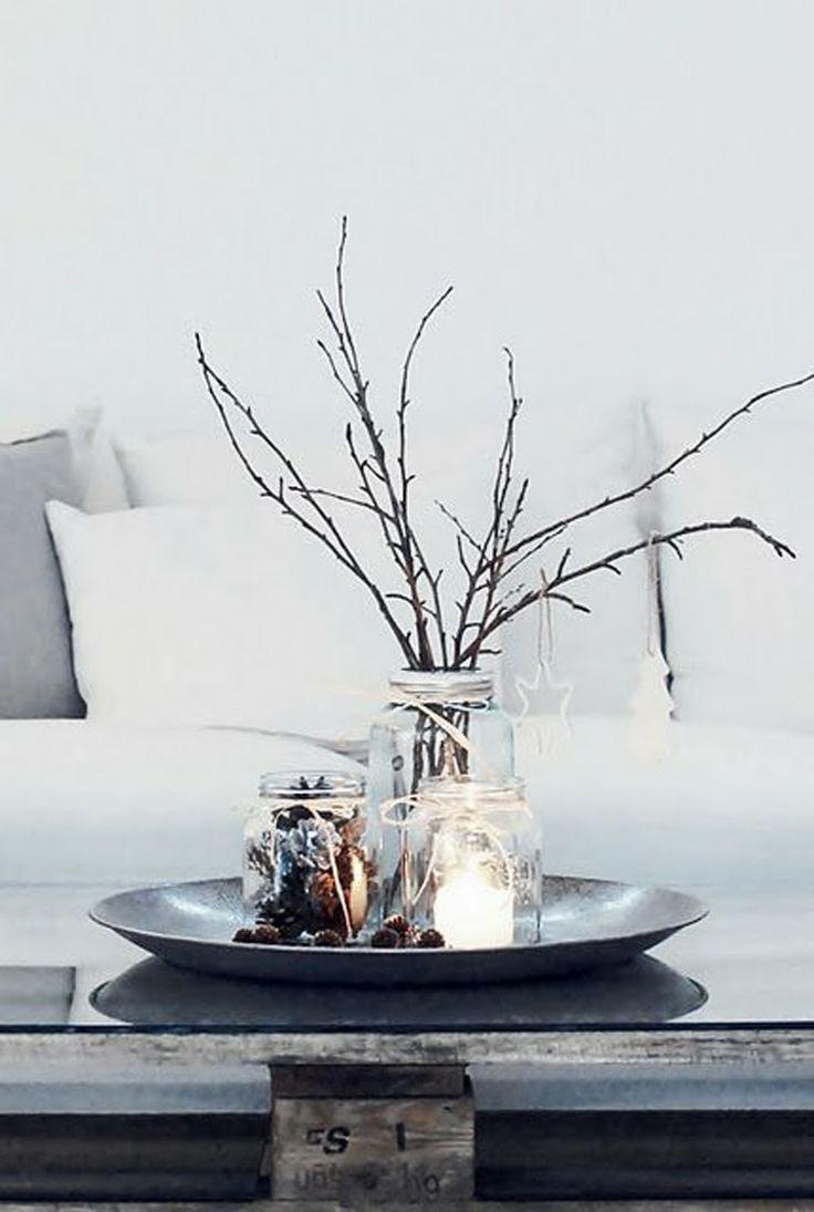 Christmas table centerpiece/ Kaunis luonnonläheinen asetelma olohuoneen pöydälle talveksi