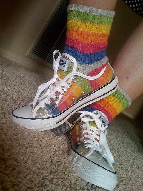 Show off your #knit socks with clear shoes! What a cool idea!
