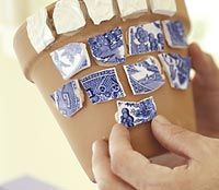 Make mosaic pots from old china