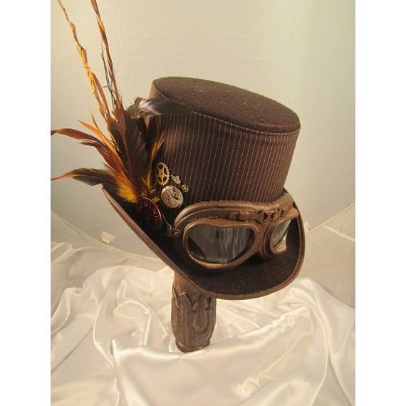 STEAMPUNK TOP HATS, Steampunk Store, brown, felt, aviator  goggles, clock parts, feathers